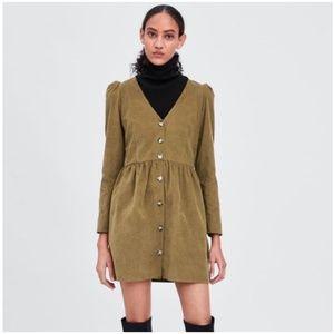 NWOT Zara TRF Corduroy Olive Long Sleeve Dress